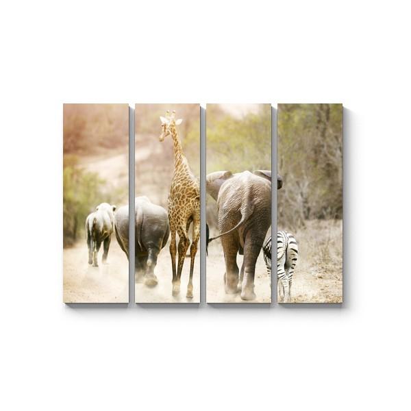 Модульная картина Побег из зоопарка