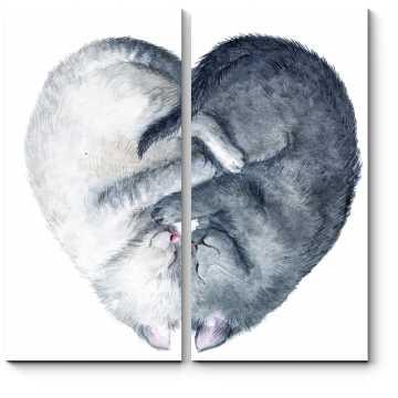 Модульная картина Любовь по-кошачьи