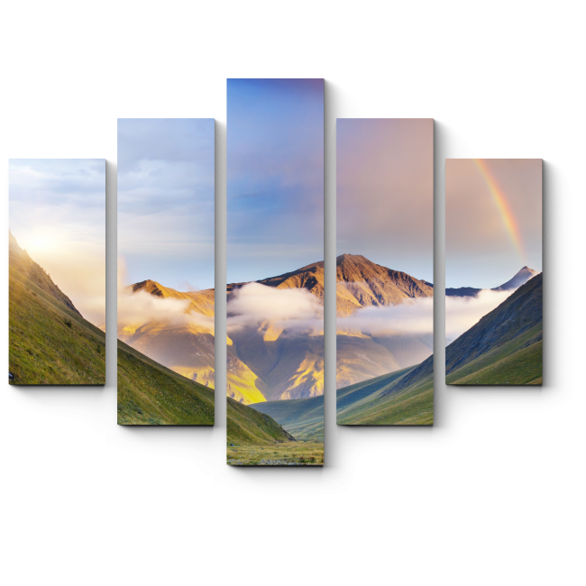 Модульная картина Радуга над горной долиной