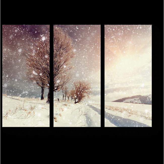 Модульная картина Снежный вечер