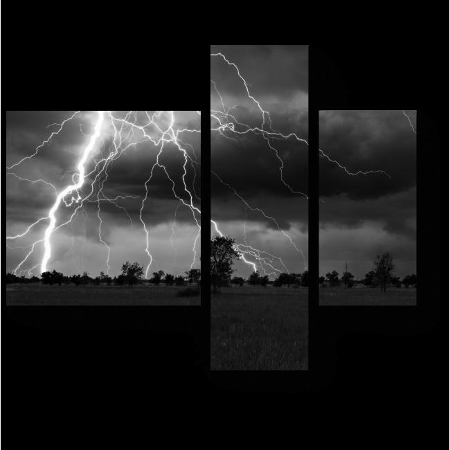 Модульная картина Молния, рассекающая пасмурное небо