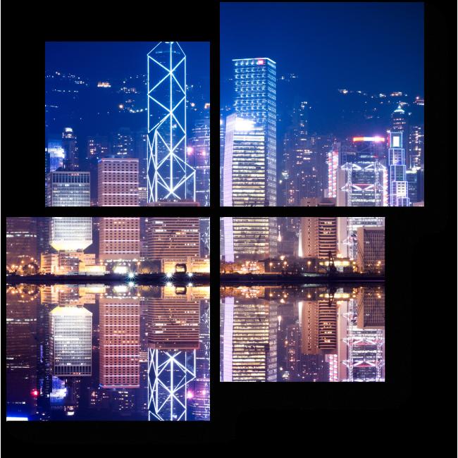 Модульная картина Ночной Гонконг в отражении водах бухты