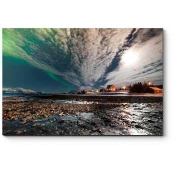 Модульная картина Северное сияние над домами