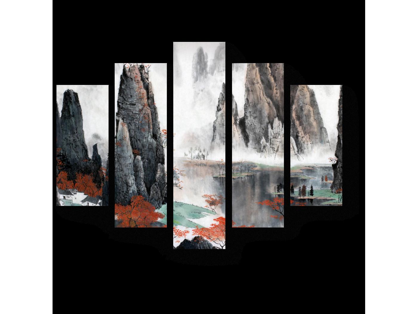 Модульная картина Путешествие среди гор (75x60)
