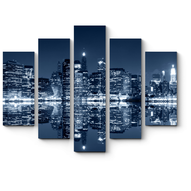 Модульная картина Манхэттен ночью, Нью-Йорк