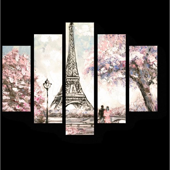 Модульная картина Город любви весной, Париж