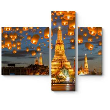 Модульная картина Волшебные небесные фонарики, Бангкок