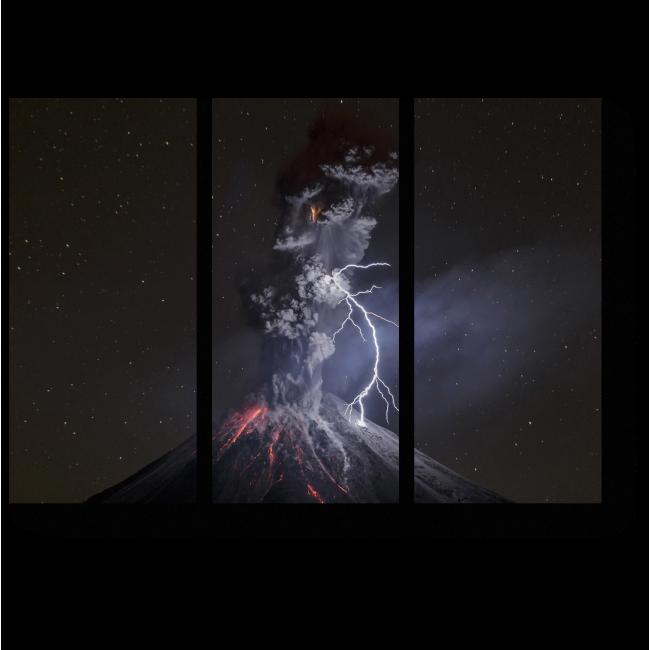 Модульная картина Молния бьет в вулкан