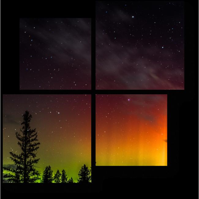 Модульная картина Сияние полярной ночи