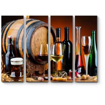 Модульная картина Натюрморт с деревянной бочкой и вином