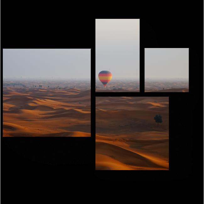 Модульная картина Воздушные шары над пустыней