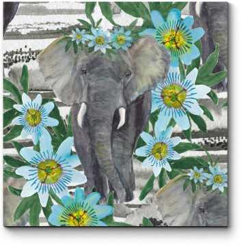 Модульная картина Слон, гуляющий среди цветов