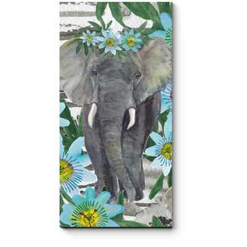 Слон, гуляющий среди цветов