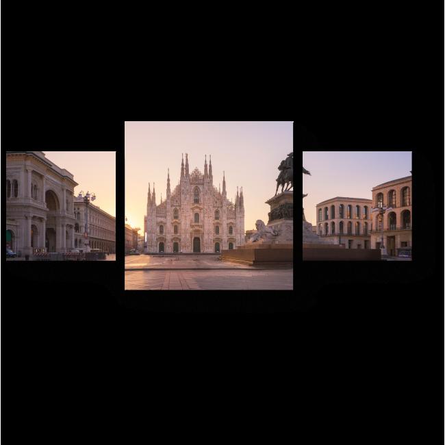 Модульная картина Соборная площадь в лучах света, Милан
