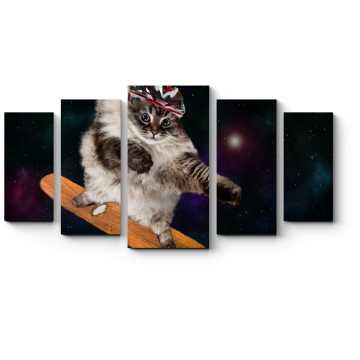 Модульная картина Космический скейтбордист