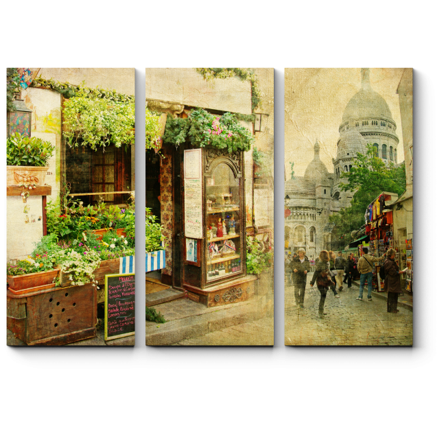 Модульная картина На улочках Монмартра