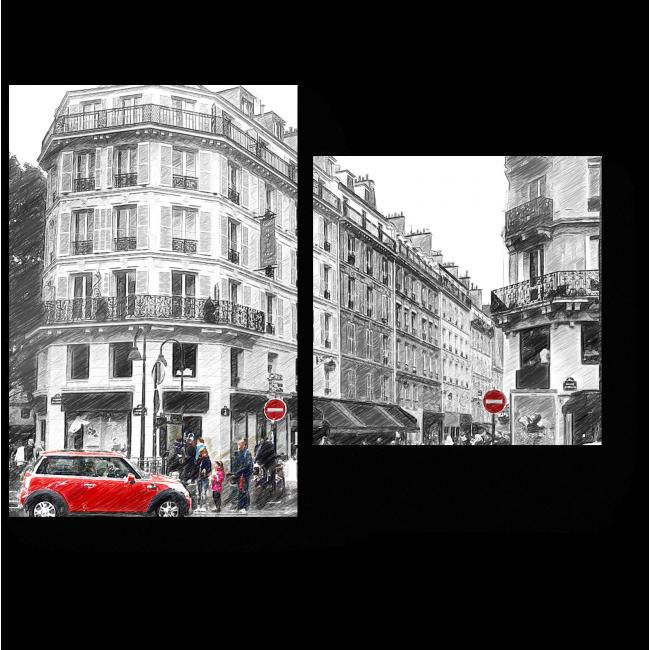 Модульная картина На улицах Парижа