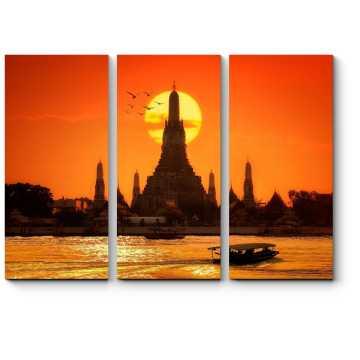 Модульная картина Алый закат в Бангкоке