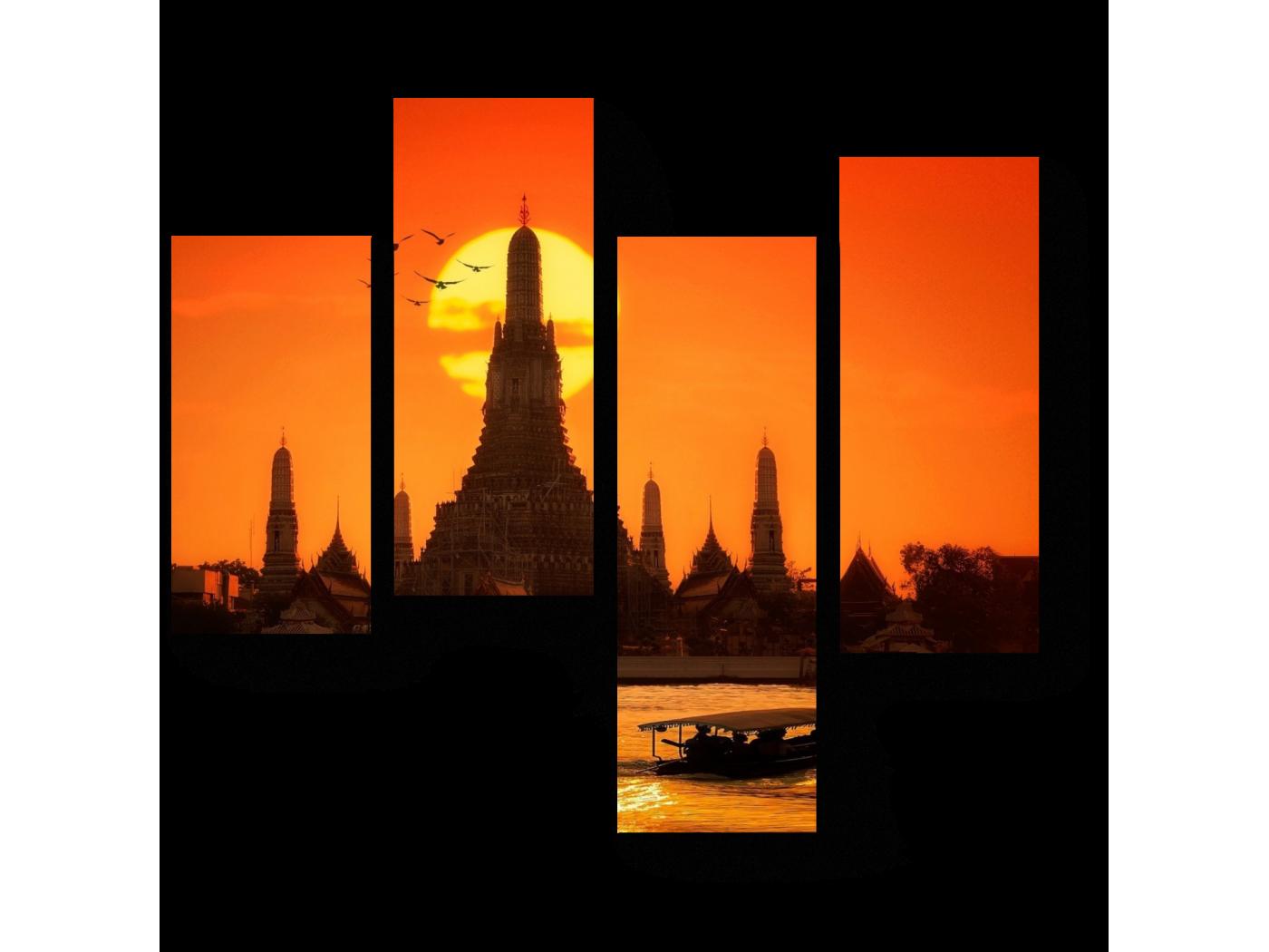 Модульная картина Алый закат в Бангкоке (64x60) фото