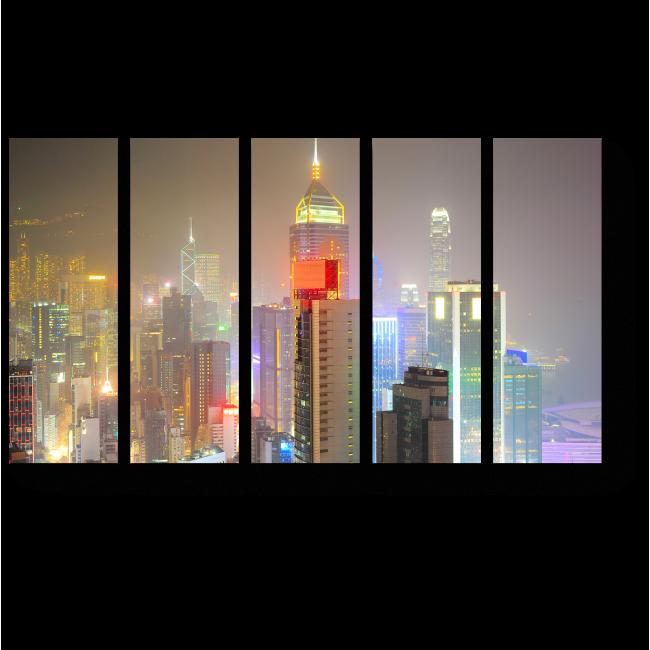 Модульная картина Гонконг в сиянии огней