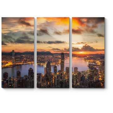 Модульная картина Рассвет над бухтой Виктория, Гонконг