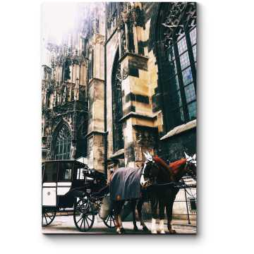 Экипаж у старой церкви в Вене