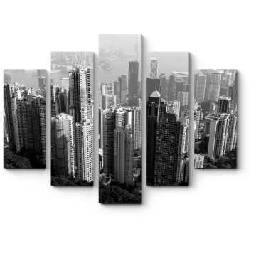 Модульная картина Монохромный Гонконг