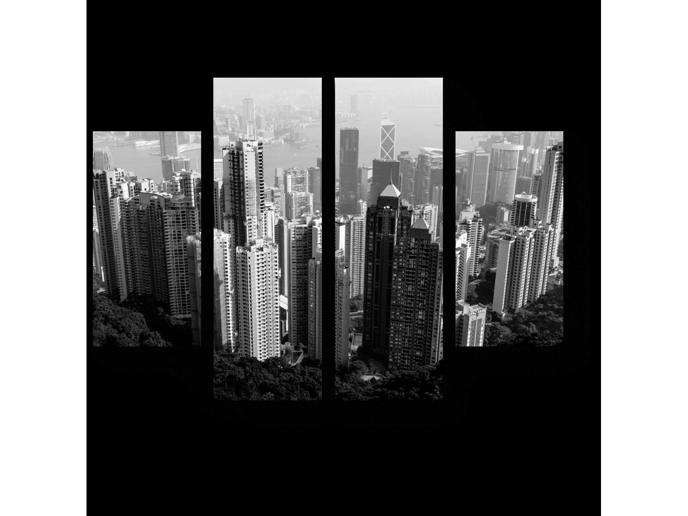 Модульная картина Монохромный Гонконг (80x60) фото