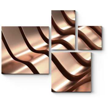Модульная картина Волны розового золота