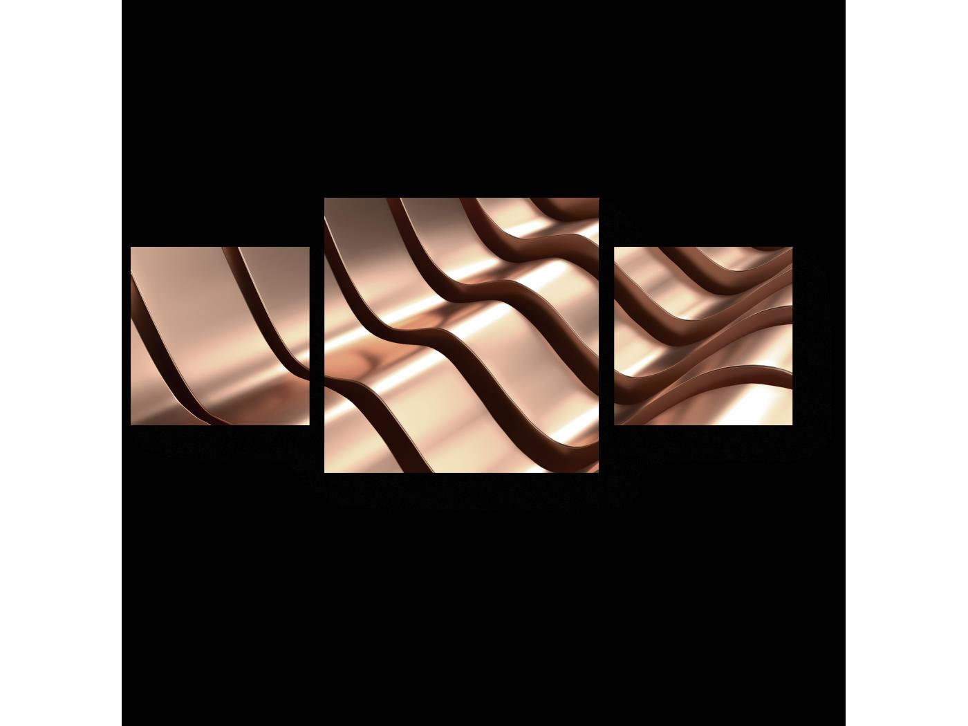 Модульная картина Волны розового золота (70x30) фото
