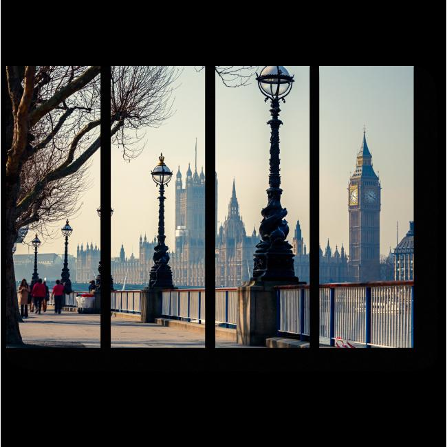 Модульная картина На набережной Темзы, Лондон