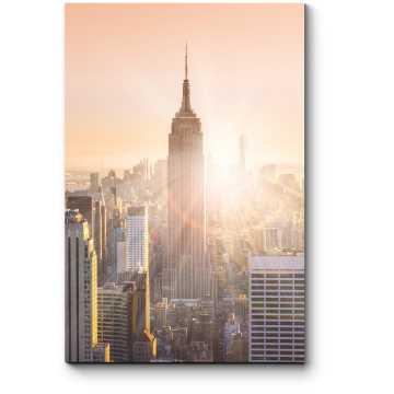 Небоскребы Манхэттена в последних лучах солнца, Нью-Йорк