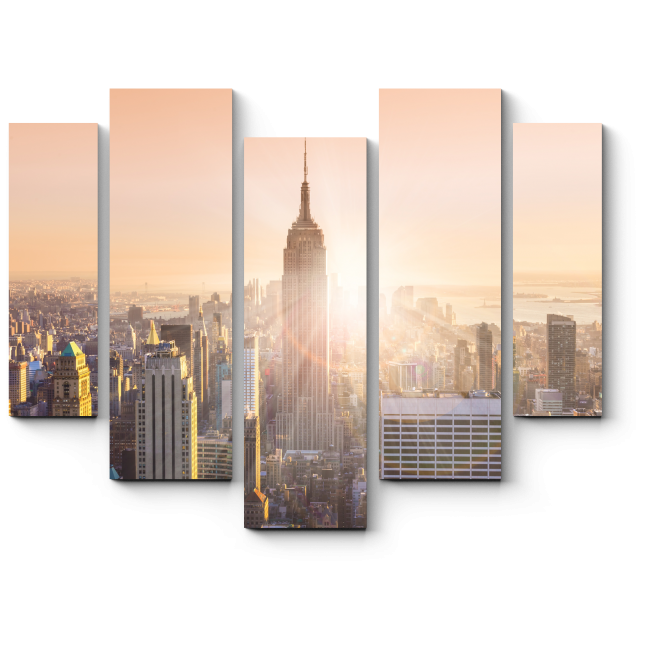 Модульная картина Небоскребы Манхэттена в последних лучах солнца, Нью-Йорк