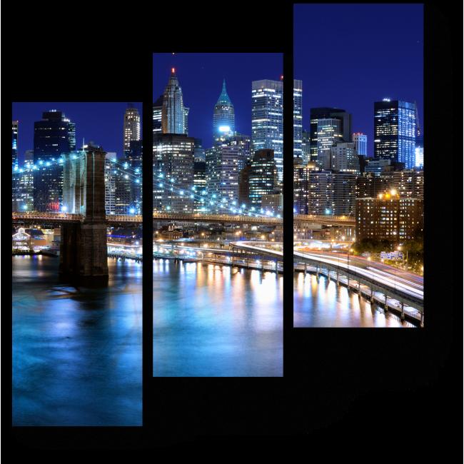 Модульная картина Ночной Нью-Йорк прекрасен