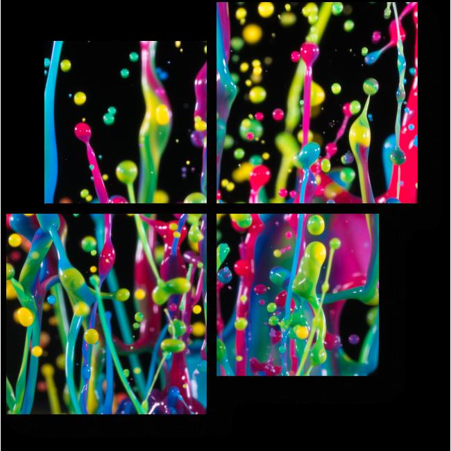 Модульная картина Разноцветные капли