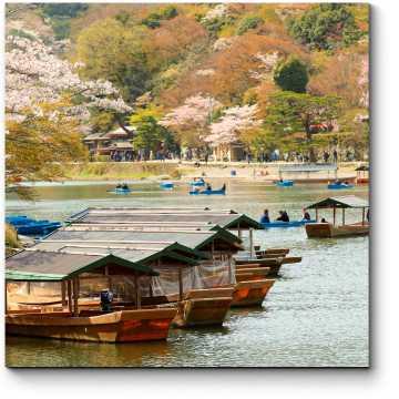 Модульная картина Цветение сакуры у берегов реки Кацура, Киото