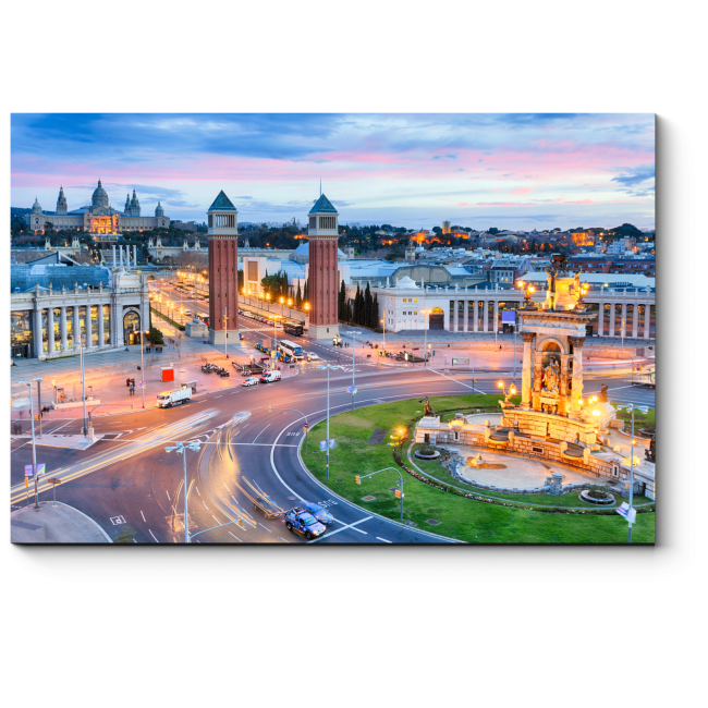 Модульная картина Барселона в закатных сумерках