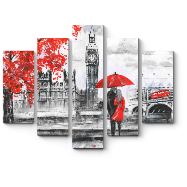 Модульная картина Влюбленные на берегу Темзы, Лондон