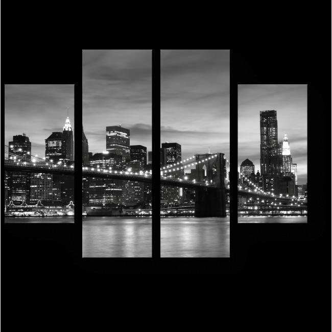 Модульная картина Бруклинский Мост ночью