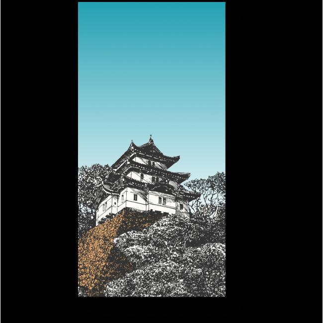 Модульная картина Китайская пагода
