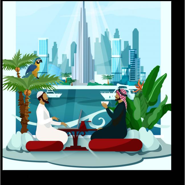 Модульная картина Ланч в Дубае