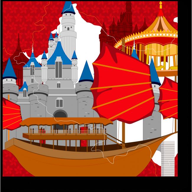 Модульная картина Сказочный город