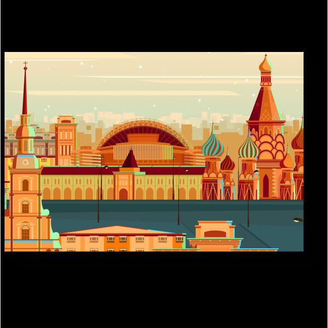 Модульная картина Векторная Москва