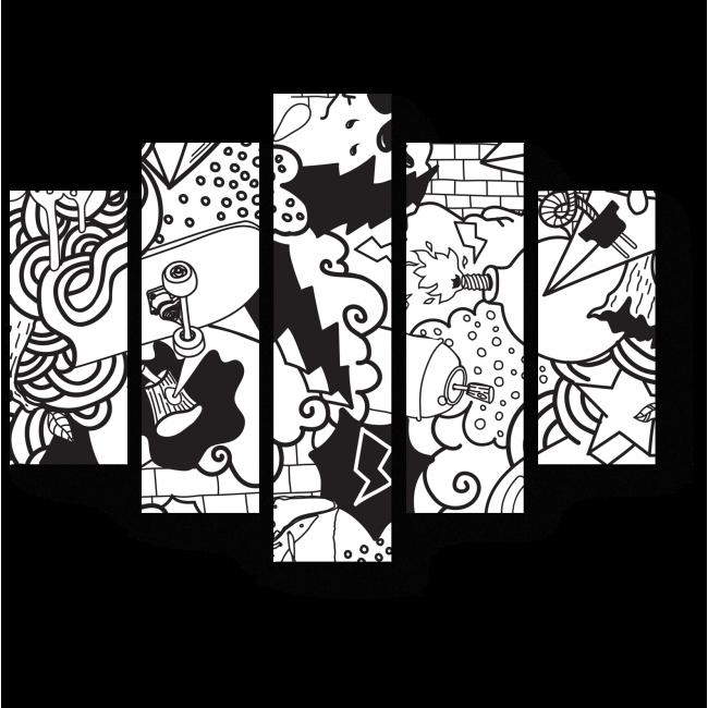 Модульная картина Черно-белая фантазия