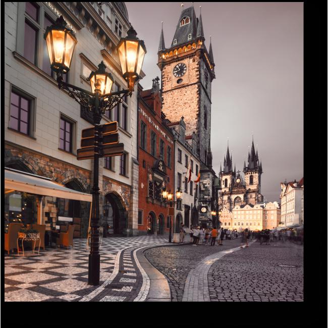 Модульная картина Вечерняя прогулка по Праге