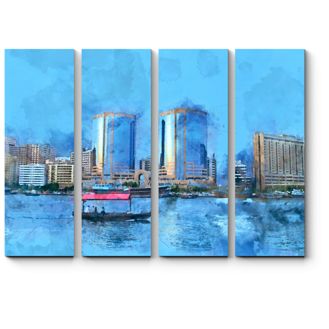 Модульная картина Акварельный Дубай