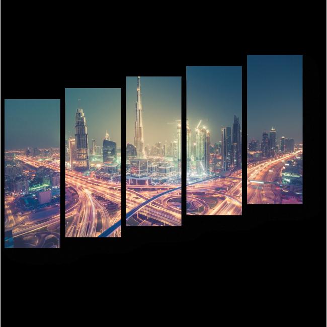 Модульная картина Ночные огни Дубая