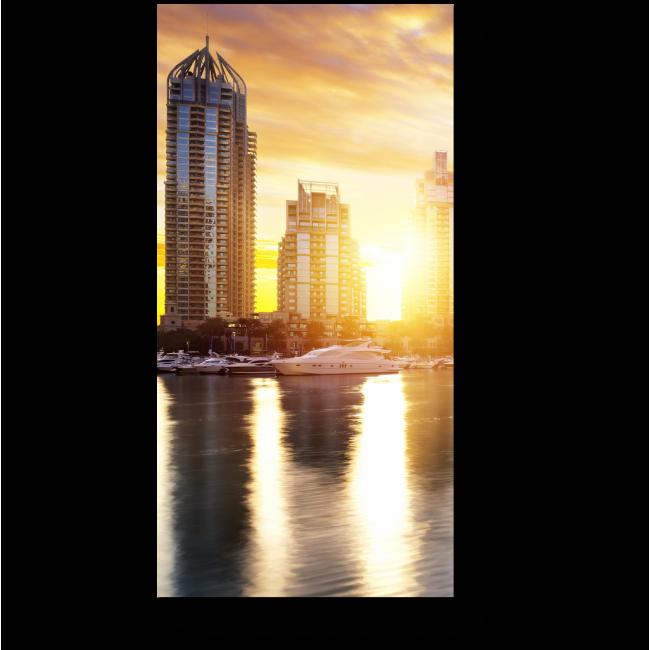 Модульная картина Небоскребы Дубая в утренних  лучах солнца