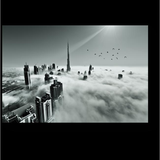 Модульная картина Крыши Дубая над облаками