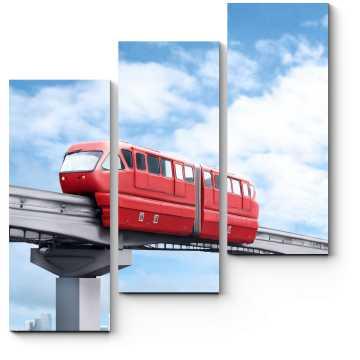 Модульная картина Красный монорельсовый поезд